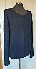 Gant ladies navy blue cardigan size XXL UK 22 cable knit scoop neck button plus
