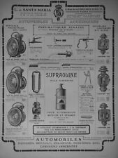 PUBLICITÉ DE PRESSE 1907 ACCESSOIRES AUTO LANTERNES FACE DE PHARES PNEUMATIQUE