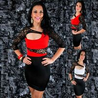 Sexy Black Lace Cut Out Mini Elastic Stretch Bodycon Casual Party Clubwear Dress