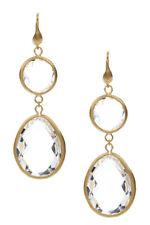 Rivka Friedman 18K Gold Clad Rock Clear Crystal Drop Dangle Earrings NEW