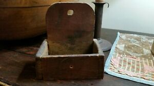 EARLY 19C ANTIQUE HEARTH FIREPLACE MATCH SPILL HOLDER~OLD GRUNGY RED PAINT~AAFA