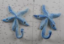 Set of 2 Iron Starfish Hook Coat Hooks Hat Nautical Decor Blue