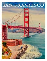 "Vintage San Francisco Travel Poster Art Print 8.5"" x 11"" Reprint"