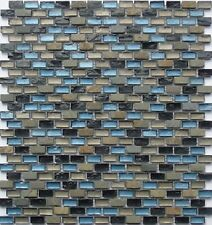 Glass Mosaic Wall Tiles Black Blue Green Brown Stone Mix Bathroom Shower MT0126