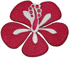 Pink Hibiscus Flower Blossom Patch Girls Tropical Hawaii Design Iron-On Applique