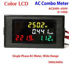 Digital Lcd Ac 220v 450v 230v 240v Led Voltmeter Panel Volt Amp Watt Combo Meter