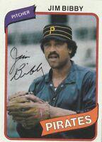 FREE SHIPPING-MINT-1980 TOPPS #229 JIM BIBBY PIRATES (FACSIMILE AUTOGRAPH)