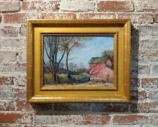 Walter Emerson Baum -The Red Barn-1928 Oil painting- Pennsylvania impressionist