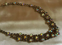 VINTAGE Rainbow Aurora Borealis & Brown Austian Crystal Necklace Choker #3
