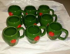 9 X  D.O.M Café green coffee cup, - After Dinner Party Drink Mug, Made In France