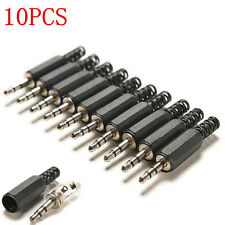 "New 10PCS 3.5mm 1/8"" Audio Male Plug Jack Adapter Stereo Connector Headphone FT"