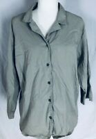 Merona Women's 24W Blouse Green Button Down 3/4 Sleeves V Neck Collared
