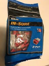 Ideal In-Sure Push In Wire Connectors 100 Qty 2 Port Insure #12 - #20 AWG