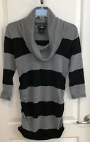 Black/Grey Cowl Neck Long Sleeve Pullover Sweater Women's M