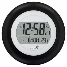 Acctim Circus Radio Controlled Black Date Temprature Wall Clock MSF Signal 74583