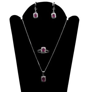 Natural Pink Ruby Gemstone 925 Sterling Silver Ring Earring Necklace Jewelry Set