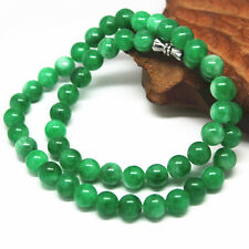 Chinese Hand-carved Natural  Jadeite  green Jade  necklace
