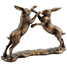 Large Reflections Bronzed Boxing Hares Leonardo Collection lp28620 Ornament