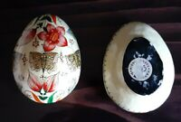 Vintage Paper Mache EGG TRINKET BOX INDIA Hand Painted EASTER Decor