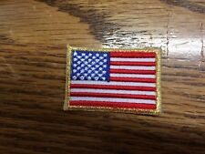 American Flag,US Flag Gold Border Embroidery Iron On Patch-Small 1 5/8""