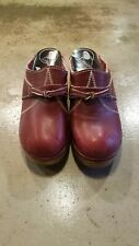 359538da2f9 Trolls by Samhill Vintage Red Leather Clogs Made in Sweden Size 35   4-5