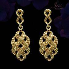 18K Gold Plated Topaz Crystal Rhinestone Drop Chandelier Dangle Earrings 00369