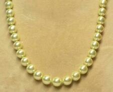"""JOAN RIVERS GOLD EP KNOTTED 10mm PASTEL GREEN CZECH GLASS BEAD 30"""" NECKLACE NEW"""