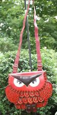 Anipals GENUINE LEATHER Women's OWL CROSS BODY SHOULDER PURSE Red