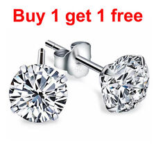 925 Sterling Silver White, Black,or Silver Round Cut CZ Stud Earrings a pair