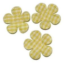 "5 pcs Yellow gingham flower 7/8"" padded applique DIY headbands hair bow centers"
