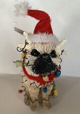 POTTERY BARN Pug Dog Bottlebrush Ornament Tangled in Lights 2020 New w Tags