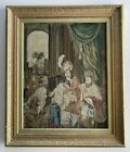 Antique Victorian Needlepoint Tapestry In Frame, c.1850s, King Pardons Galileo