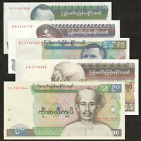 BURMA MYANMAR 15 35 45 75 90 Kyats SET 5 PCS 1985-1987 P-62 63 64 65 66 AU-AUNC