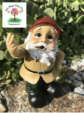 Rude angry wobble gnome figurine raising 2 fingers gnomes naughty joke garden