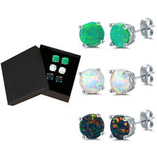 18K Gold Plated Lab-Created Opal Stud Earrings - 3pair Set