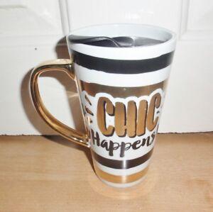 BNIB THE LEONARDO COLLECTION - CHIC HAPPENS travel coffee tea mug
