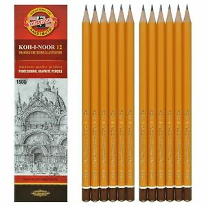 NEW Pack of 12 Koh-I-Noor 1500 Professional Graphite Pencils Grades 8B to 9H