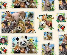 Zoo Selfies~Cute Animals~Cotton Fabric by Elizabeth's Studios