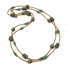 "Tibetan Turquoise Brass Long Necklace 40"" Tibetan Ethnic Tribal Handmade N2445"