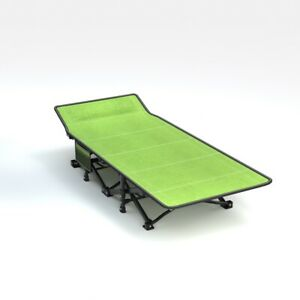 Portable Single Size Folding Metal Bed Long Portable W/ Carry Bag Camping Hiking