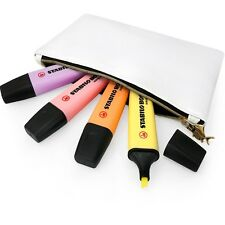 STABILO BOSS Pastel Highlighters - Pink, Peach, Lilac, Yellow- White Pencil Case