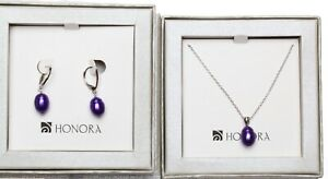 Honora 9 - 10mm Freshwater Pearl Necklace and Earrings Set  purple ~ BOXED