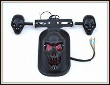 Fuoco stop NERO OPACO Testa da Morte + Supporto da targa per moto custom ~ NUOVO