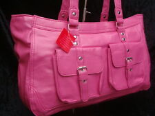 UK SELLER BEST PRICE NEW PINK FAUX LEATHER HANDBAG PINK TOTE BAG       HBSPU15