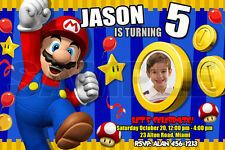 SUPER MARIO BROS BIRTHDAY PARTY INVITATION PHOTO BROTHERS CUSTOM INVITE 1ST - C1
