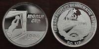 LAOS - SILVER PROOF 50 KIP COIN 1991 YEAR KM#47 USA FIFA WORLD CUP MUNDIAL 1994