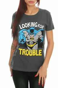 Womens Batman Shirt Looking For Trouble New Girls Juniors XL Extra Large NWT DC