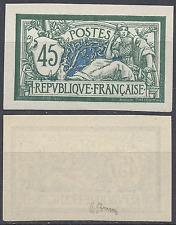 FRANCE MERSON N°143 SIGNÉ BRUN TIMBRE NON DENTELÉ IMPERF 1907 NEUF SANS GOMME
