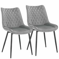 2x Esszimmerstühle Küchenstühle Wohnzimmerstuhl aus Samt Hellgrau BH209hgr-2