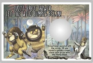 WHERE THE WILD THINGS ARE SCRATCH OFF PARTY GAMES GAME CARDS BABY SHOWER FAVORS